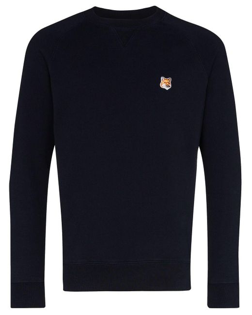 Maison Kitsuné Blue Appliqued Cotton Sweatshirt for men