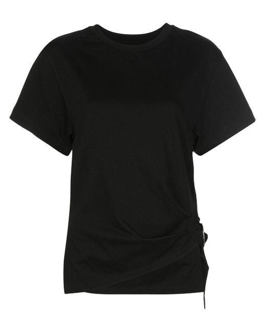 3.1 Phillip Lim Camiseta fruncida con anilla de mujer de color negro 3kMA6