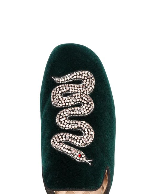 9fe75702bce ... Gucci - Green Snake Embellished Evening Slippers - Lyst