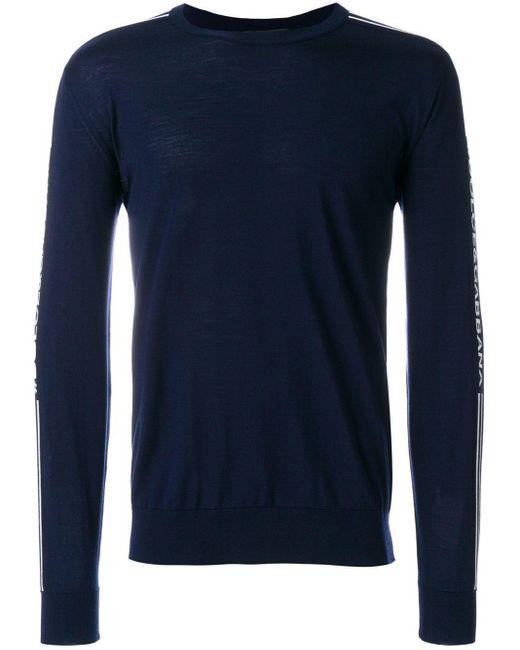 メンズ Dolce & Gabbana ロゴライン セーター Blue