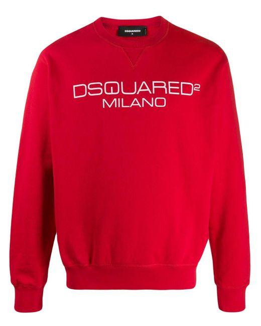 メンズ DSquared² Milano ロゴ スウェットシャツ Red