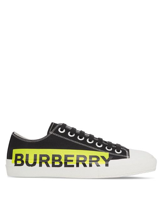 Burberry Black Logo-print Topstitched Sneakers