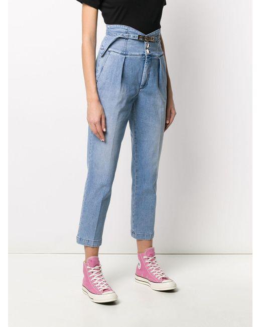 Pinko Blue Cropped-Jeans mit hohem Bund