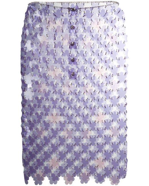 Paco Rabanne フローラル ミニスカート Purple