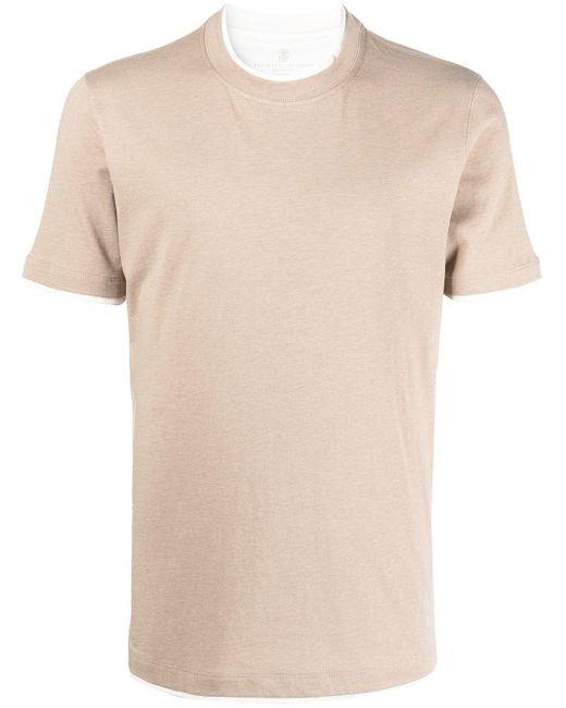 メンズ Brunello Cucinelli コントラストトリム Tシャツ Natural