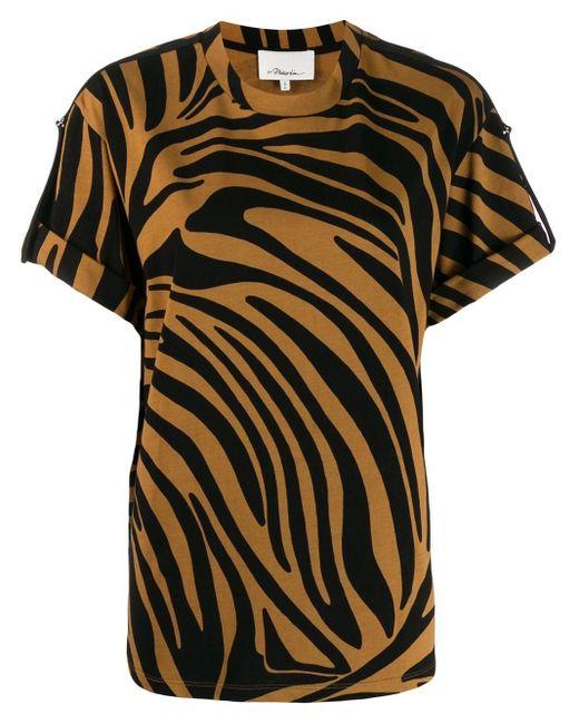 3.1 Phillip Lim Printed Zebra T-Shirt de mujer de color negro CUC6C
