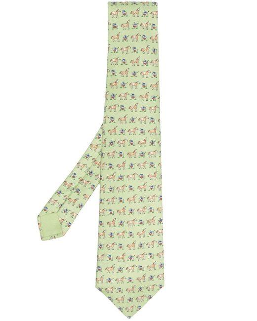 Cravate à motif graphique pre-owned (années 2000) Hermès pour homme en coloris Green