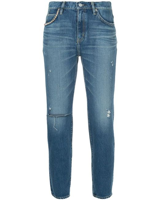 Hysteric Glamour - Blue Distressed Slim Fit Jeans - Lyst