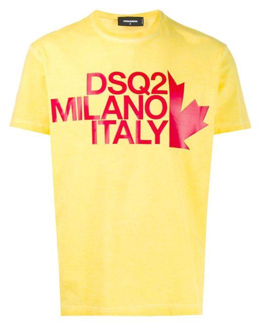 メンズ DSquared² ロゴ Tシャツ Yellow