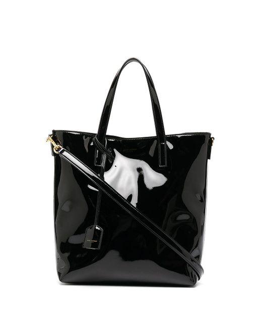 Лакированная Сумка-тоут Saint Laurent, цвет: Black