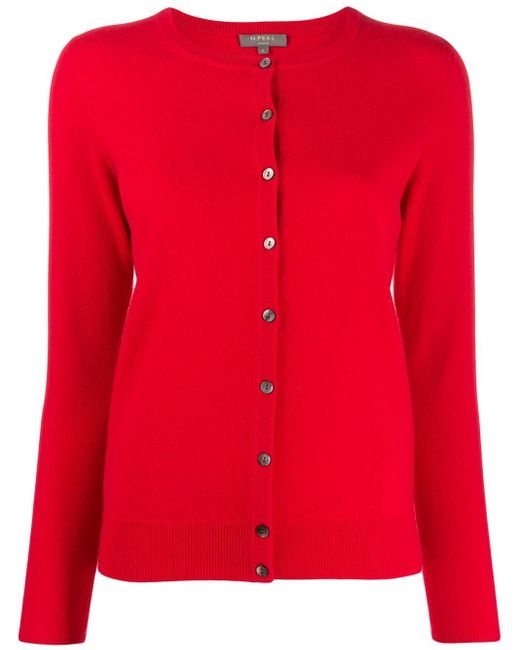N.Peal Cashmere ラウンドネック カーディガン Red