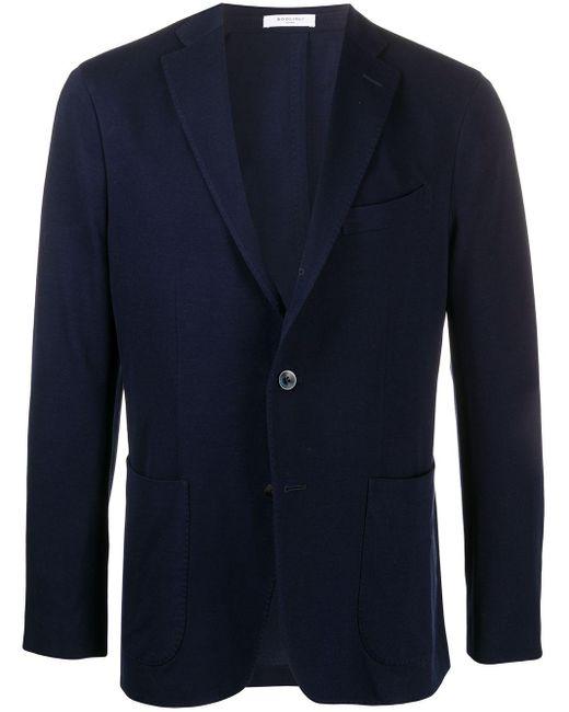 メンズ Boglioli コットン シングルジャケット Blue