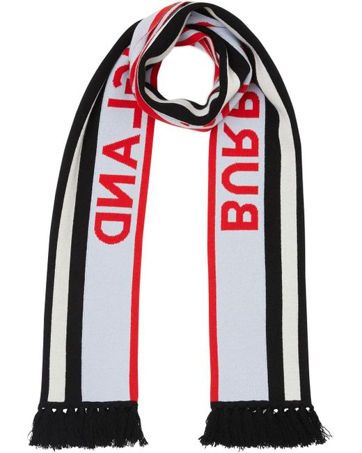 Burberry ジャカードロゴ カシミアスカーフ Red