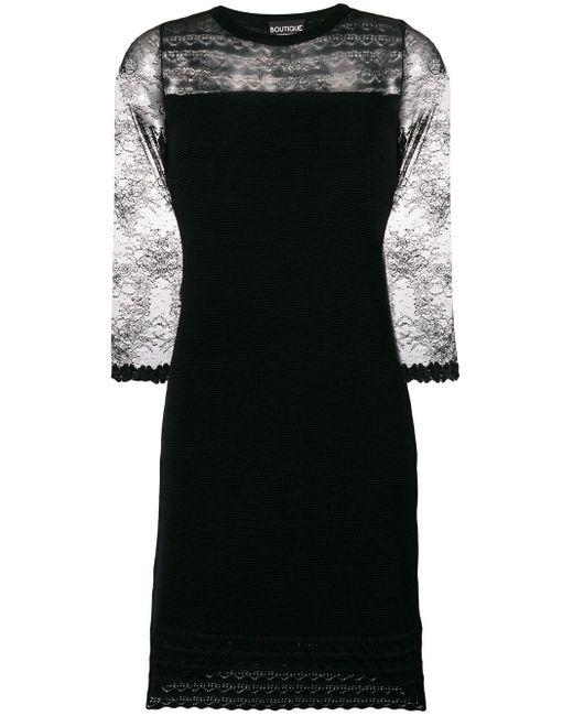 Boutique Moschino レースディテール ニットドレス Black