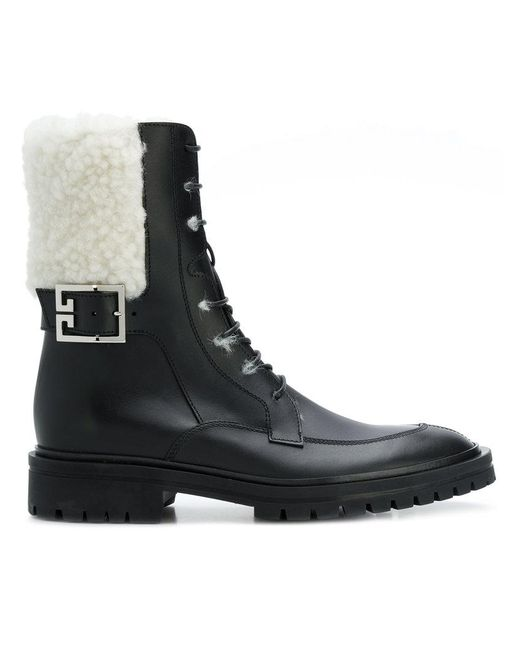 Givenchy - Black Lace-up Biker Boots - Lyst