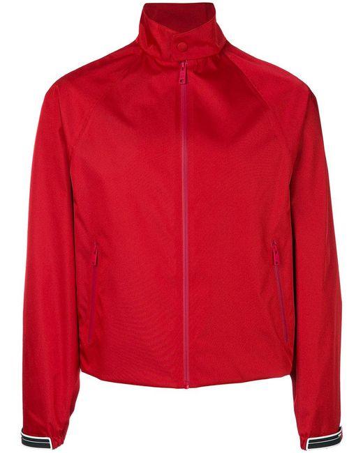 Prada - Red Gabardine Nylon Bomber Jacket for Men - Lyst