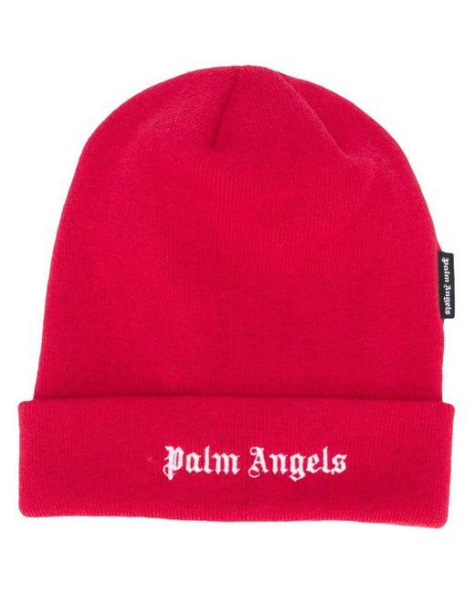 メンズ Palm Angels ロゴ ビーニー Red