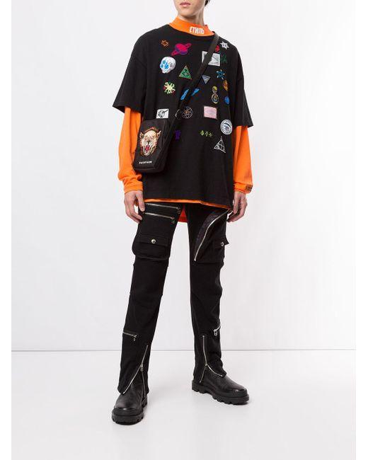 メンズ Facetasm レイヤード Tシャツ Black