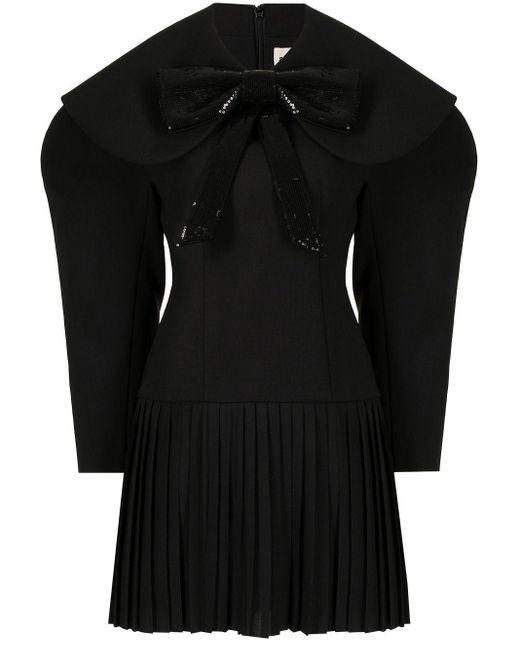 Robe plissée à manches bouffantes ShuShu/Tong en coloris Black
