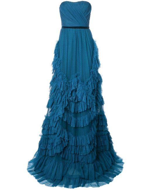 Marchesa notte ストラップレス ドレス Blue