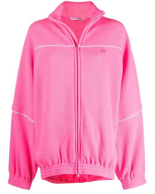 Chaqueta de chándal con logo bordado Balenciaga de color Pink