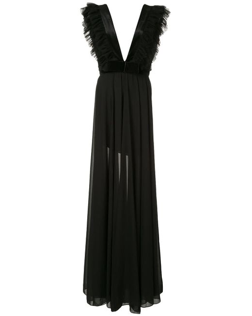 Saiid Kobeisy Black Tulle Detail Evening Dress