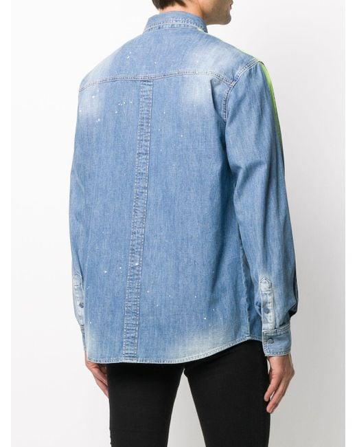 Джинсовая Рубашка С Эффектом Потертости Philipp Plein для него, цвет: Blue