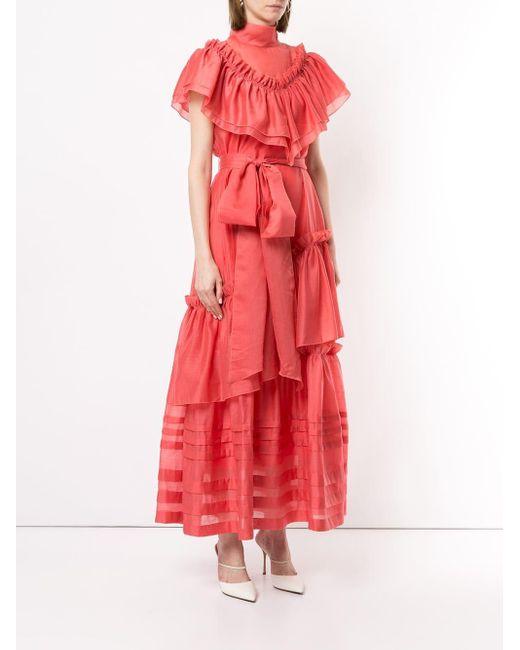 Robe longue à volants Anna October en coloris Pink