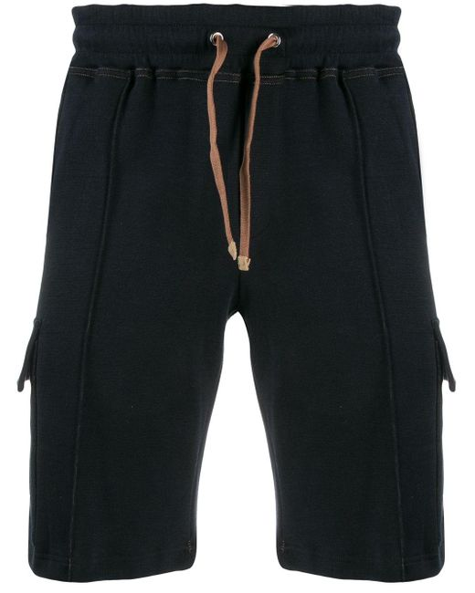 Eleventy Blue Drawstring Waist Track Shorts for men