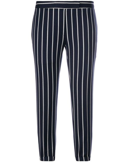 Thom Browne - Blue Cropped Striped Trousers - Lyst