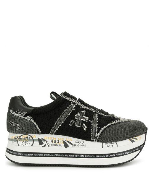 Premiata Black Distressed Flatform Sneakers