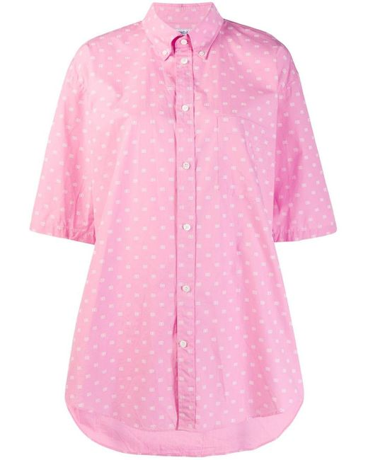 Balenciaga ロゴ ショートスリーブ シャツ Pink