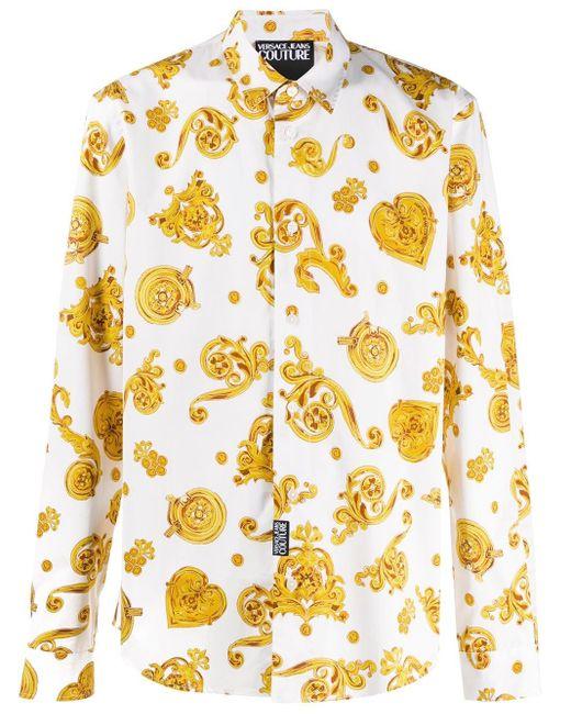 メンズ Versace Jeans プリント シャツ Yellow