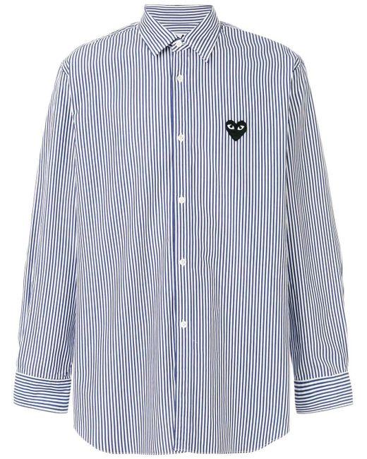 COMME DES GARÇONS PLAY Gestreiftes Hemd mit Herz-Patch in Blue für Herren