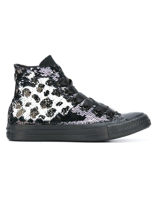 Converse Black 'All Star' High-Top-Sneakers mit Pailletten