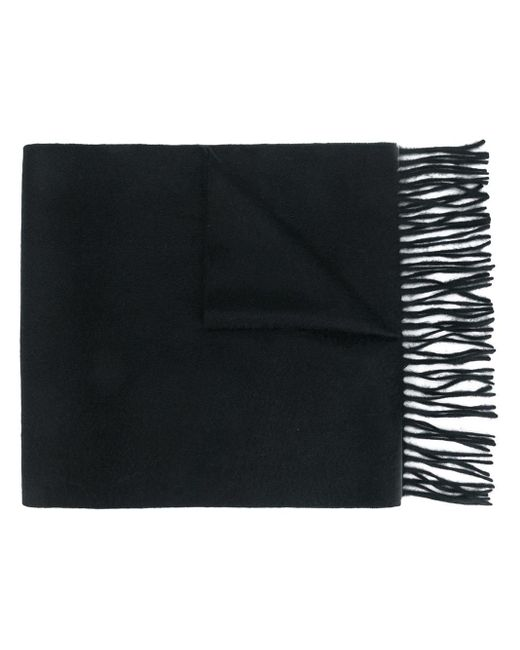 N.Peal Cashmere Black Woven Ripple Scarf