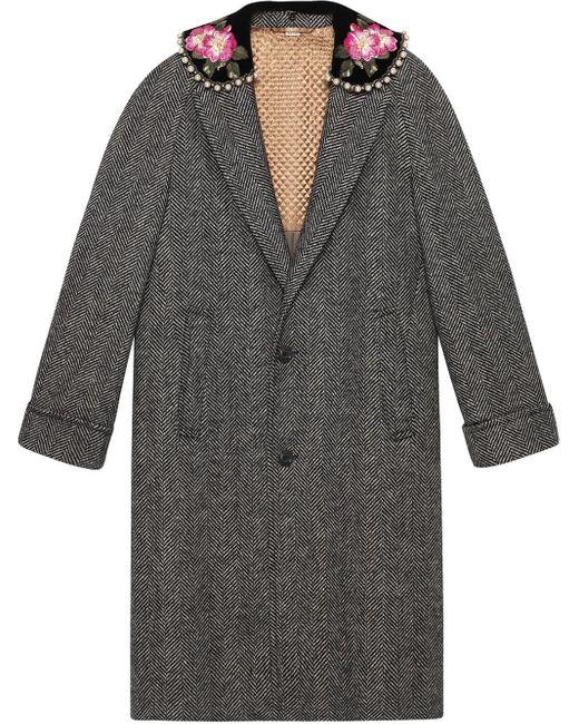 Gucci ヘリンボーン コート Gray