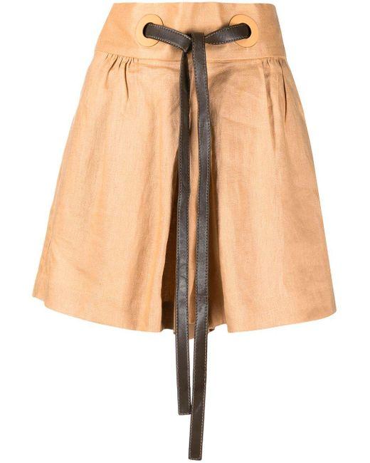 Zimmermann Brown Lovestruck Tie-waist Shorts