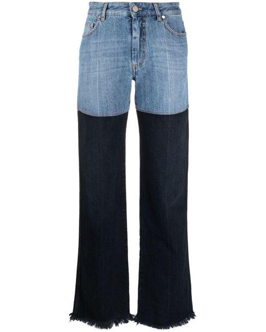 Peter Do Blue Combo High-waist Straight Jeans