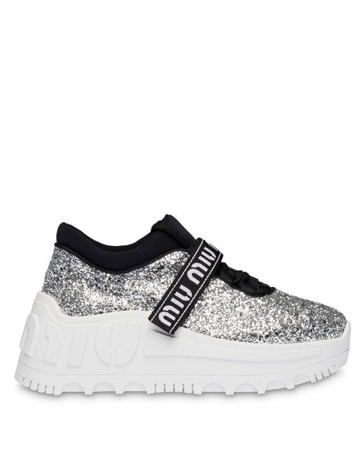 Miu Miu Metallic Glitter Chunky Sole Sneakers