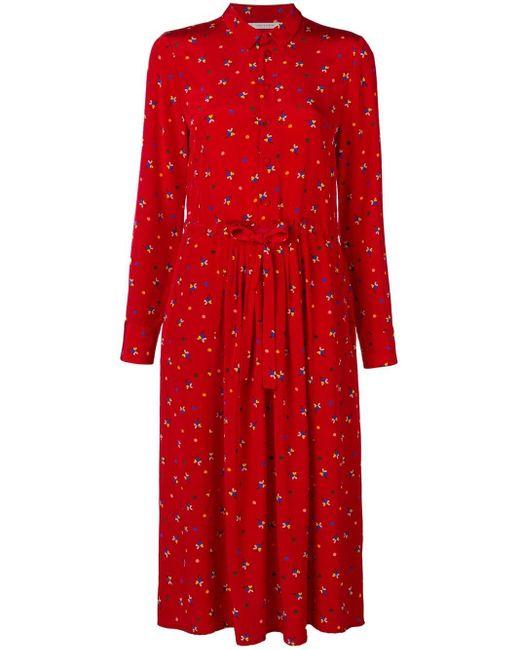 Chinti & Parker フローラルドレス Red