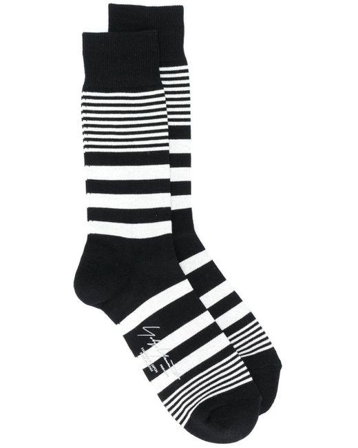 メンズ Yohji Yamamoto ボーダー靴下 Black