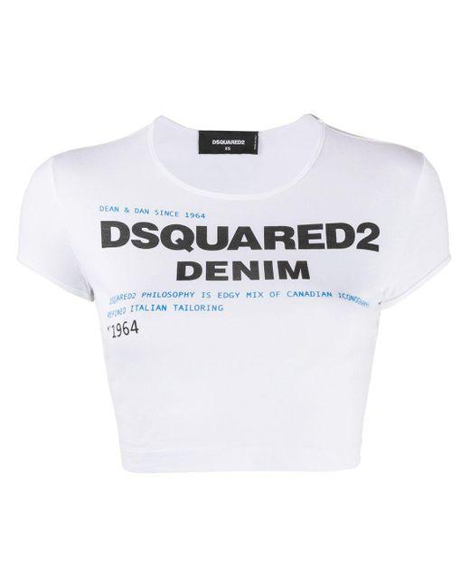 DSquared² ロゴ クロップドtシャツ White