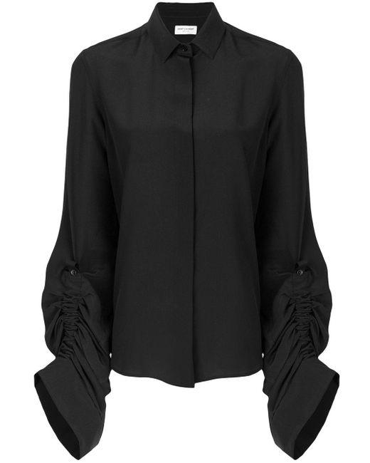 Saint Laurent ドレープスリーブ シルクシャツ Black