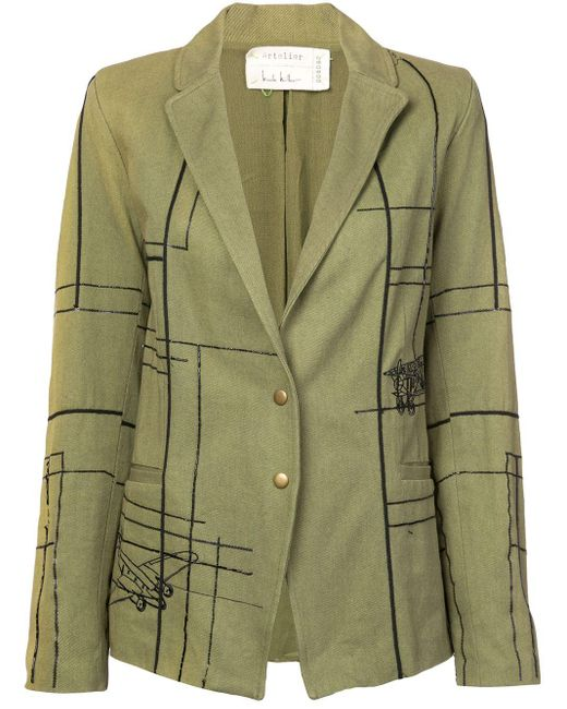 Nicole Miller Blueprint Embellished Blazer Green