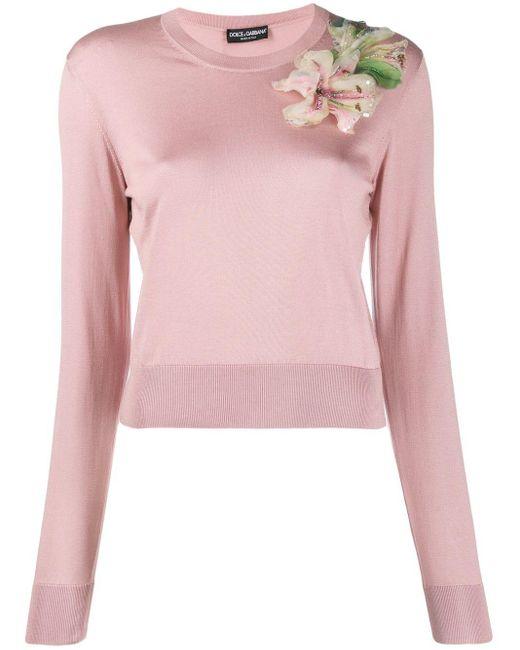 Dolce & Gabbana エンブロイダリー セーター Pink