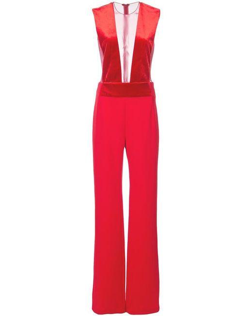 Galvan - Red Sheer Panel Jumpsuit - Lyst