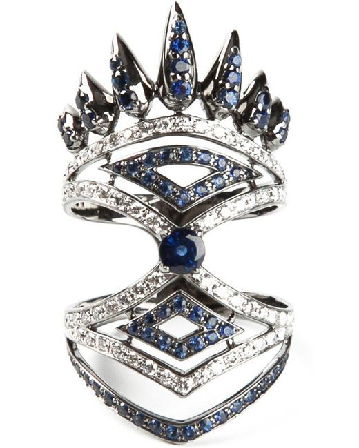 Nikos Koulis | Metallic Diamond And Sapphire Pavé Ring | Lyst