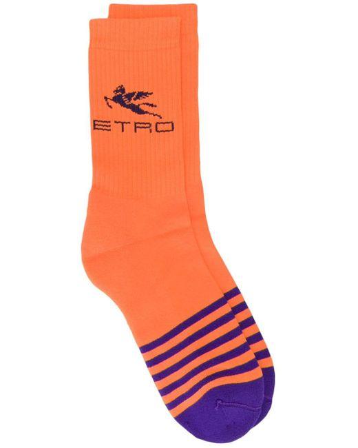 Полосатые Носки С Логотипом Etro для него, цвет: Orange