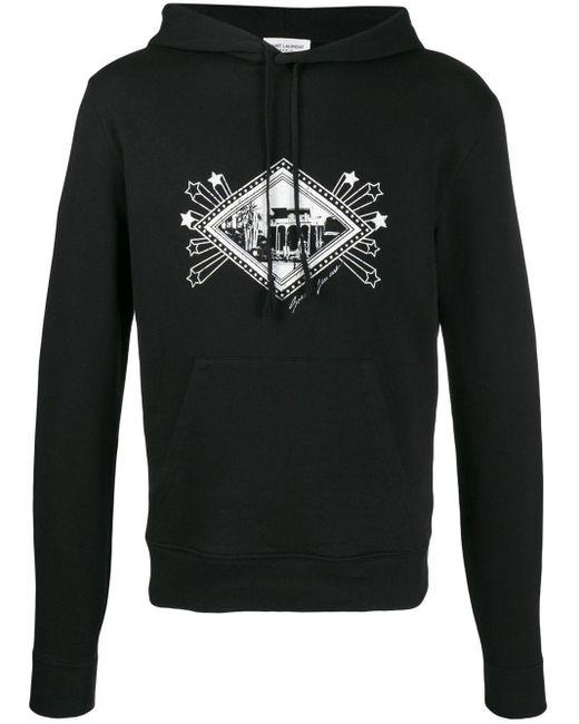 メンズ Saint Laurent グラフィック パーカー Black